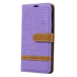 Denim Book Case Samsung Galaxy A40 Hoesje - Paars