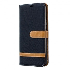 Denim Book Case Samsung Galaxy A70 Hoesje - Zwart