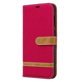 Denim Book Case Samsung Galaxy A70 Hoesje - Rood