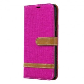 Denim Book Case Samsung Galaxy A70 Hoesje - Roze