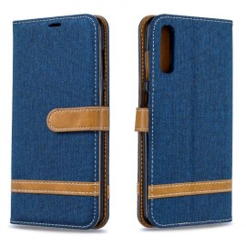 Denim Book Case Samsung Galaxy A70 Hoesje - Blauw