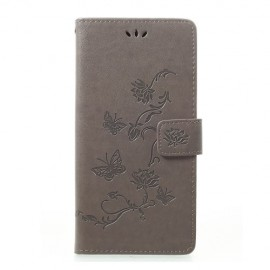 Bloemen Book Case Samsung Galaxy A70 Hoesje - Grijs