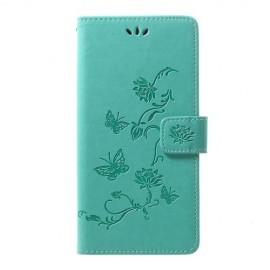 Bloemen Book Case Samsung Galaxy A70 Hoesje - Cyan