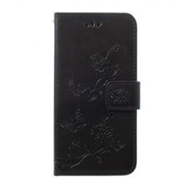 Bloemen Book Case Samsung Galaxy A40 Hoesje - Zwart
