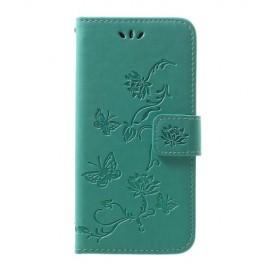 Bloemen Book Case Samsung Galaxy A40 Hoesje - Cyan