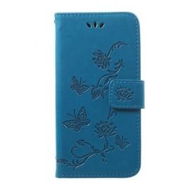 Bloemen Book Case Samsung Galaxy A40 Hoesje - Blauw