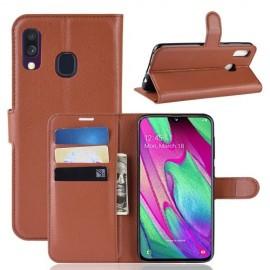 Book Case Samsung Galaxy A40 Hoesje - Bruin