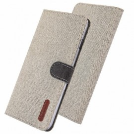 Canvas Book Case Samsung Galaxy A10 Hoesje - Ecru