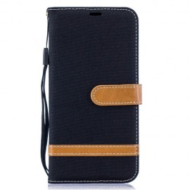 Denim Book Case Samsung Galaxy A10 Hoesje - Zwart