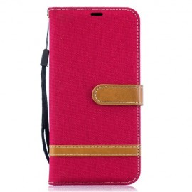 Denim Book Case Samsung Galaxy A10 Hoesje - Rood