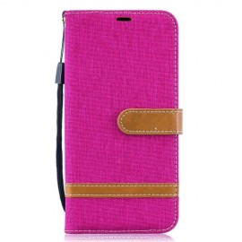 Denim Book Case Samsung Galaxy A10 Hoesje - Roze