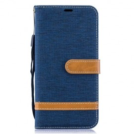 Denim Book Case Samsung Galaxy A10 Hoesje - Blauw