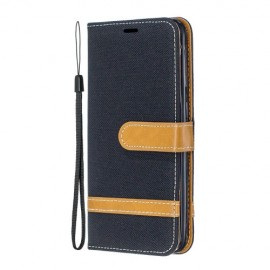 Denim Book Case Samsung Galaxy A20e Hoesje - Zwart