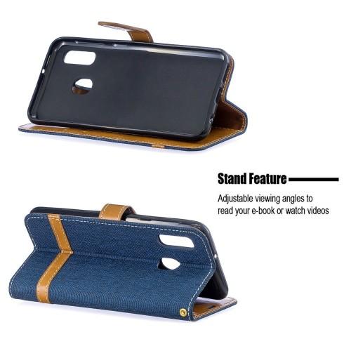 Denim Book Case Samsung Galaxy A20e Hoesje - Blauw