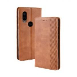 Book Case Motorola One Vision Hoesje - Bruin