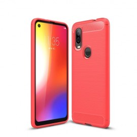 Armor Brushed TPU Motorola One Vision Hoesje - Rood