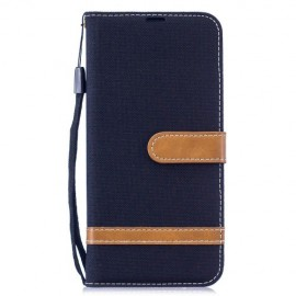 Denim Book Case Xiaomi Redmi Note 7 Hoesje - Zwart