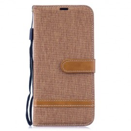 Denim Book Case Xiaomi Redmi Note 7 Hoesje - Bruin