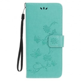 Bloemen Book Case iPhone 11 Pro Hoesje - Cyan
