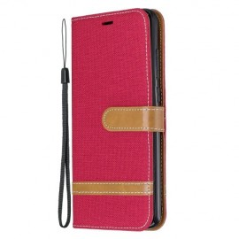 Denim Book Case Xiaomi Redmi Note 8 Pro Hoesje - Rood