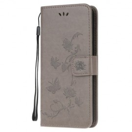 Bloemen Book Case Samsung Galaxy A51 Hoesje - Grijs