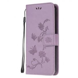 Bloemen Book Case Samsung Galaxy A51 Hoesje - Lila