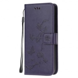 Bloemen Book Case Samsung Galaxy A51 Hoesje - Donkerpaars