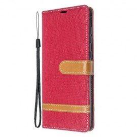 Denim Book Case Samsung Galaxy A71 Hoesje - Rood