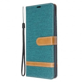 Denim Book Case Samsung Galaxy A71 Hoesje - Groen