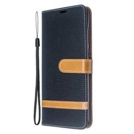 Denim Book Case Samsung Galaxy S20 Plus Hoesje - Zwart
