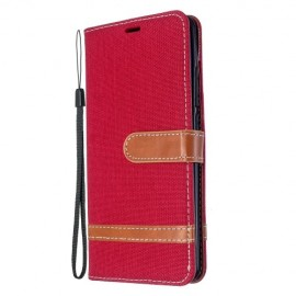 Denim Book Case Xiaomi Mi Note 10 Hoesje - Rood