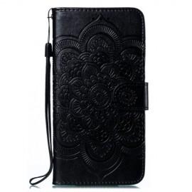Bloemen Book Case Motorola Moto E6 Plus Hoesje - Zwart
