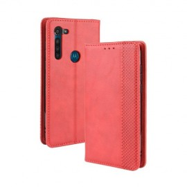 Vintage Book Case Motorola Moto G8 Power Hoesje - Rood