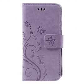 Bloemen Book Case iPhone SE (2020) / 8 / 7 Hoesje - Paars