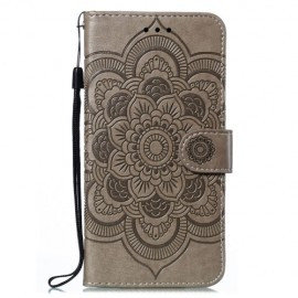 Bloemen Book Case Samsung Galaxy M21 Hoesje - Grijs