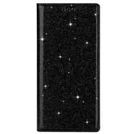 Book Case Glitter Samsung Galaxy A41 Hoesje - Zwart
