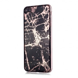 Marble Design TPU iPhone 8 Plus / 7 Plus Hoesje - Black Gold