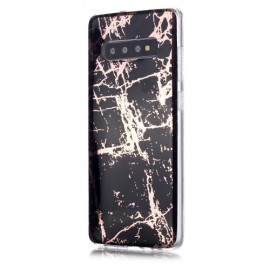 Marble Design TPU Samsung Galaxy S10 Plus Hoesje - Black Gold