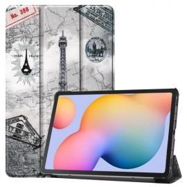 Tri-Fold Book Case Samsung Galaxy Tab S6 Lite Hoesje - Eiffeltoren